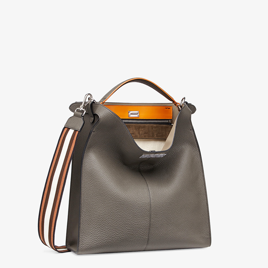 FENDI PEEKABOO X-LITE FIT - Gray leather bag - view 3 detail