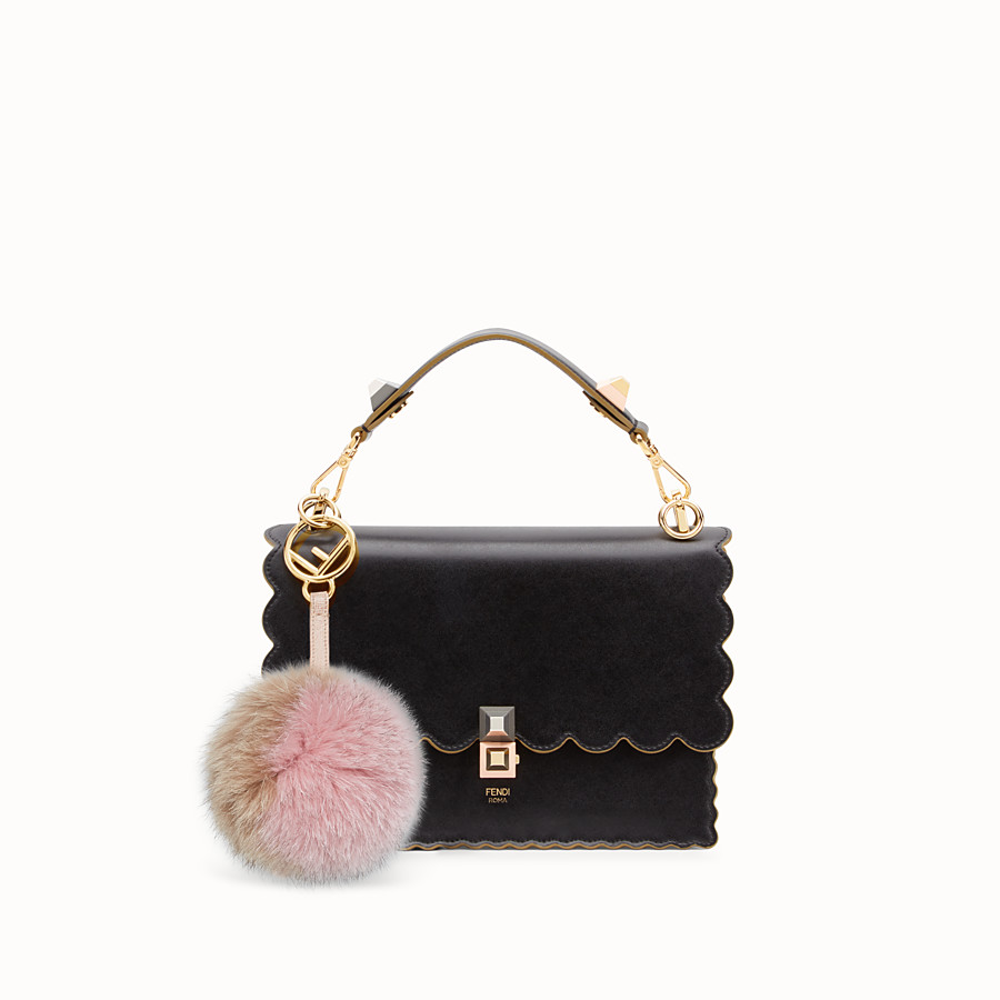 FENDI POM-POM CHARM - in pink and camel fur - view 2 detail