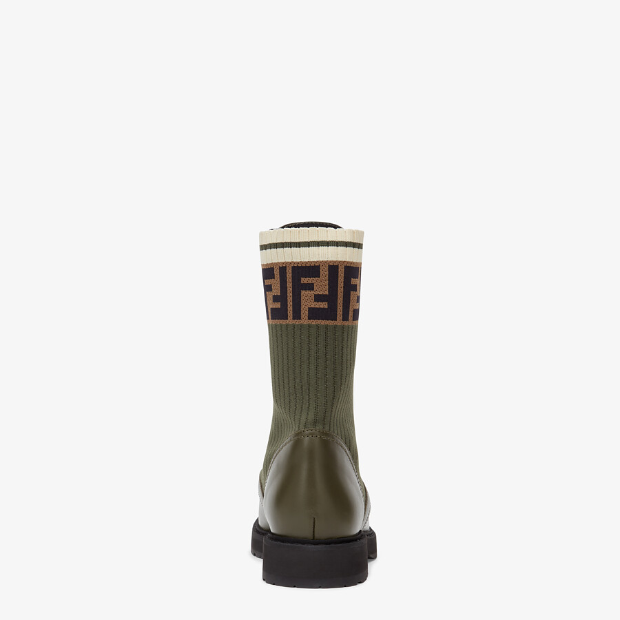 FENDI ANKLE BOOTS - Green leather biker boots - view 3 detail