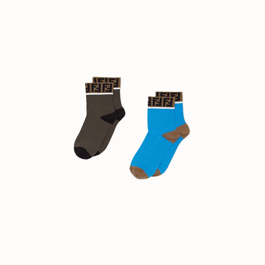 FENDI SOCKS - Pair of blue and green cotton socks - view 1 detail