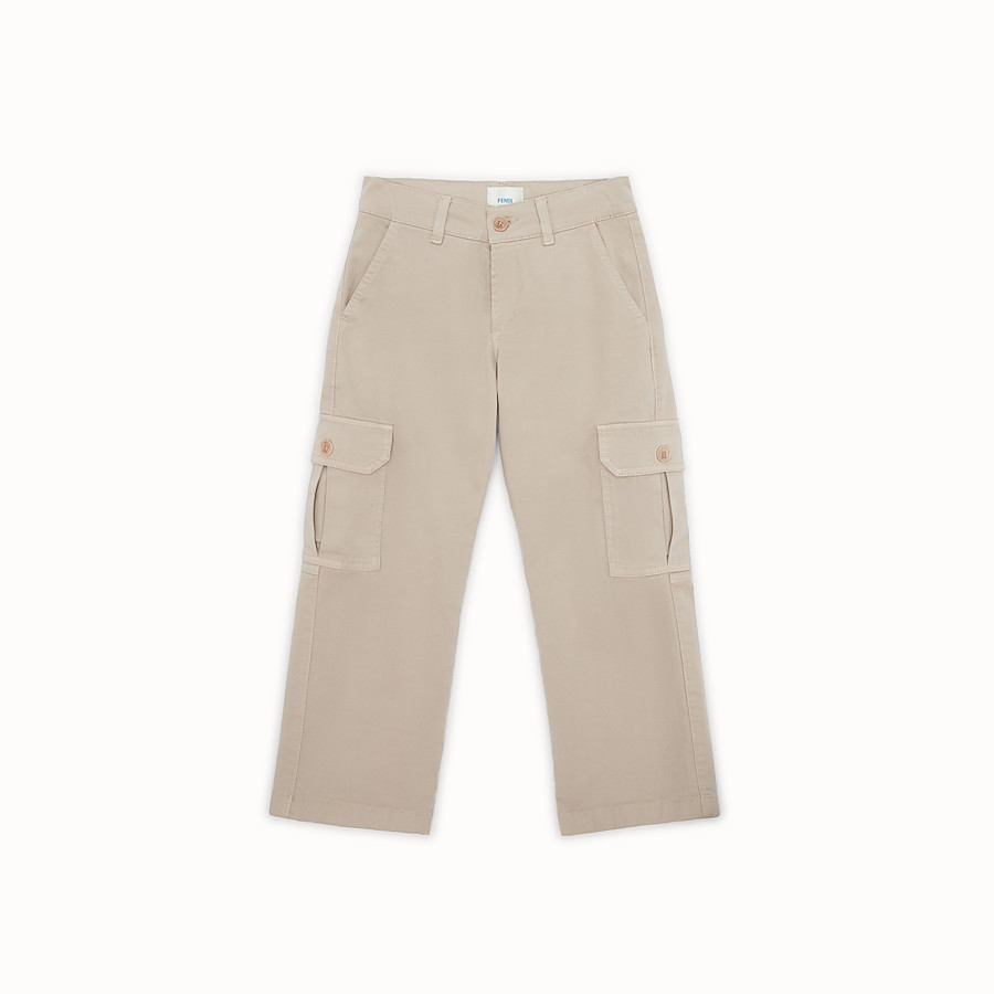 FENDI TROUSERS - Gabardine trousers with patch - view 1 detail