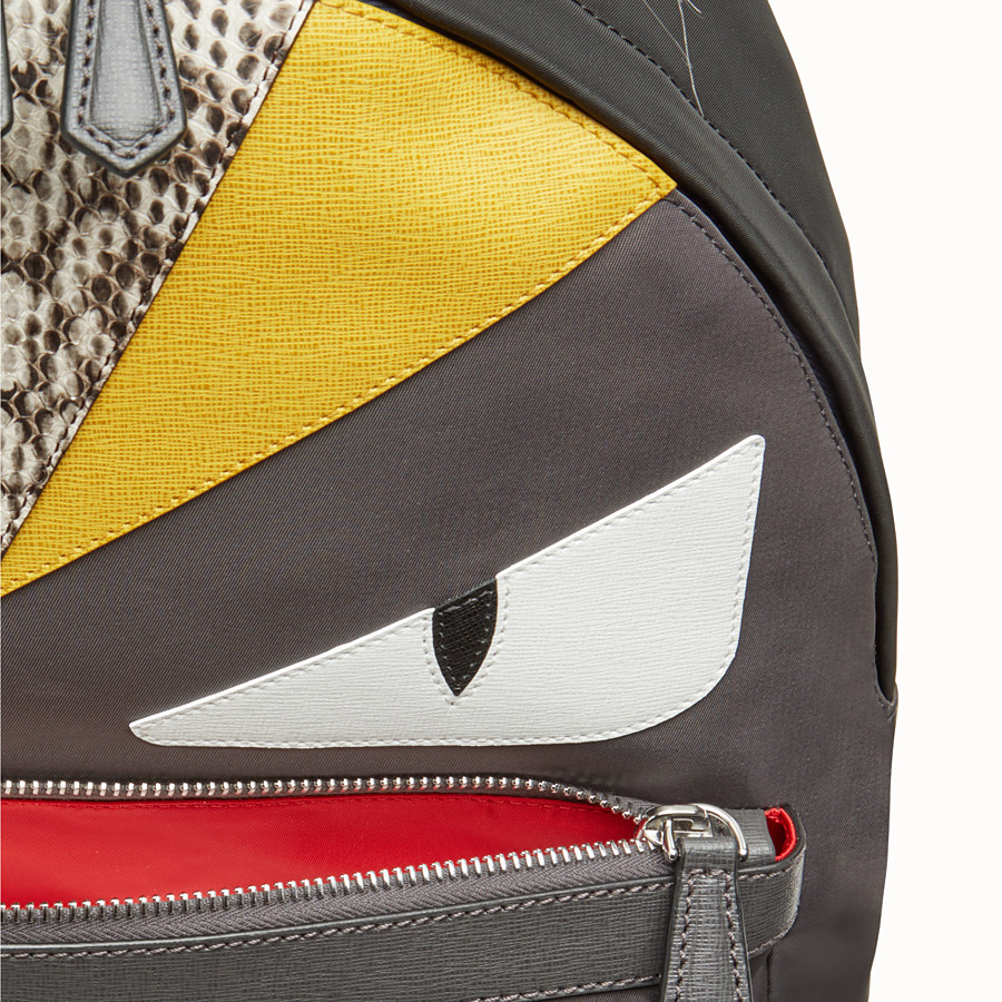 FENDI BACKPACK - in nylon and gray leather with inlays - view 4 detail