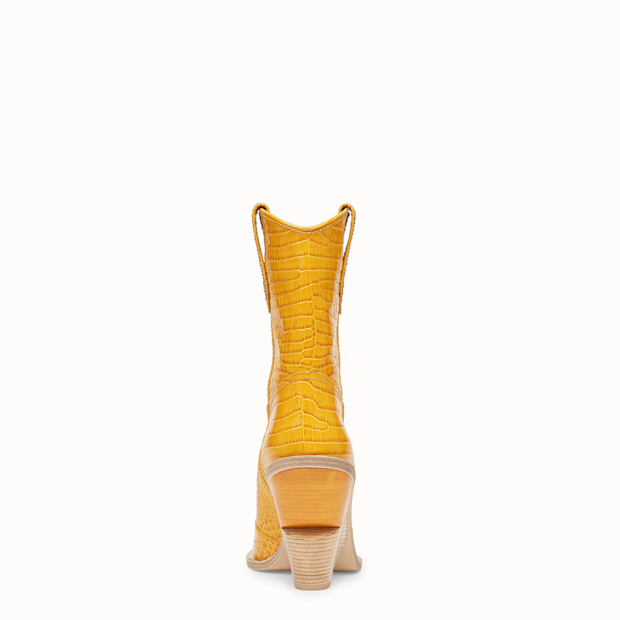 FENDI BOOTS - Yellow crocodile-embossed ankle boots - view 3 detail