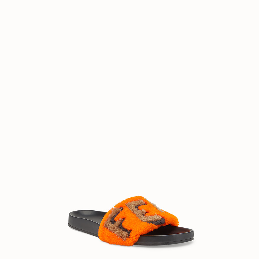 FENDI FLAT SANDALS - Slides in leather and orange sheepskin - view 2 detail