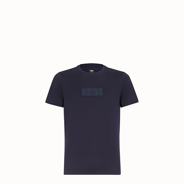 FENDI T-SHIRT - Dark blue cotton T-shirt - view 1 small thumbnail