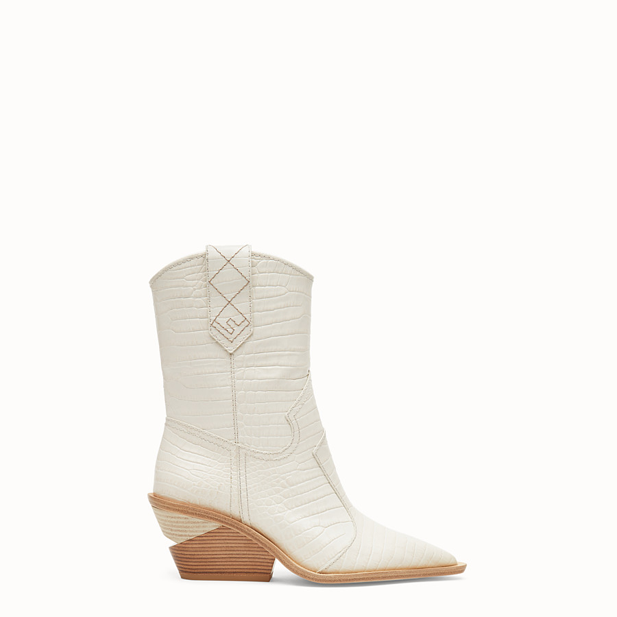 FENDI BOOTS - White crocodile-embossed ankle boots - view 1 detail