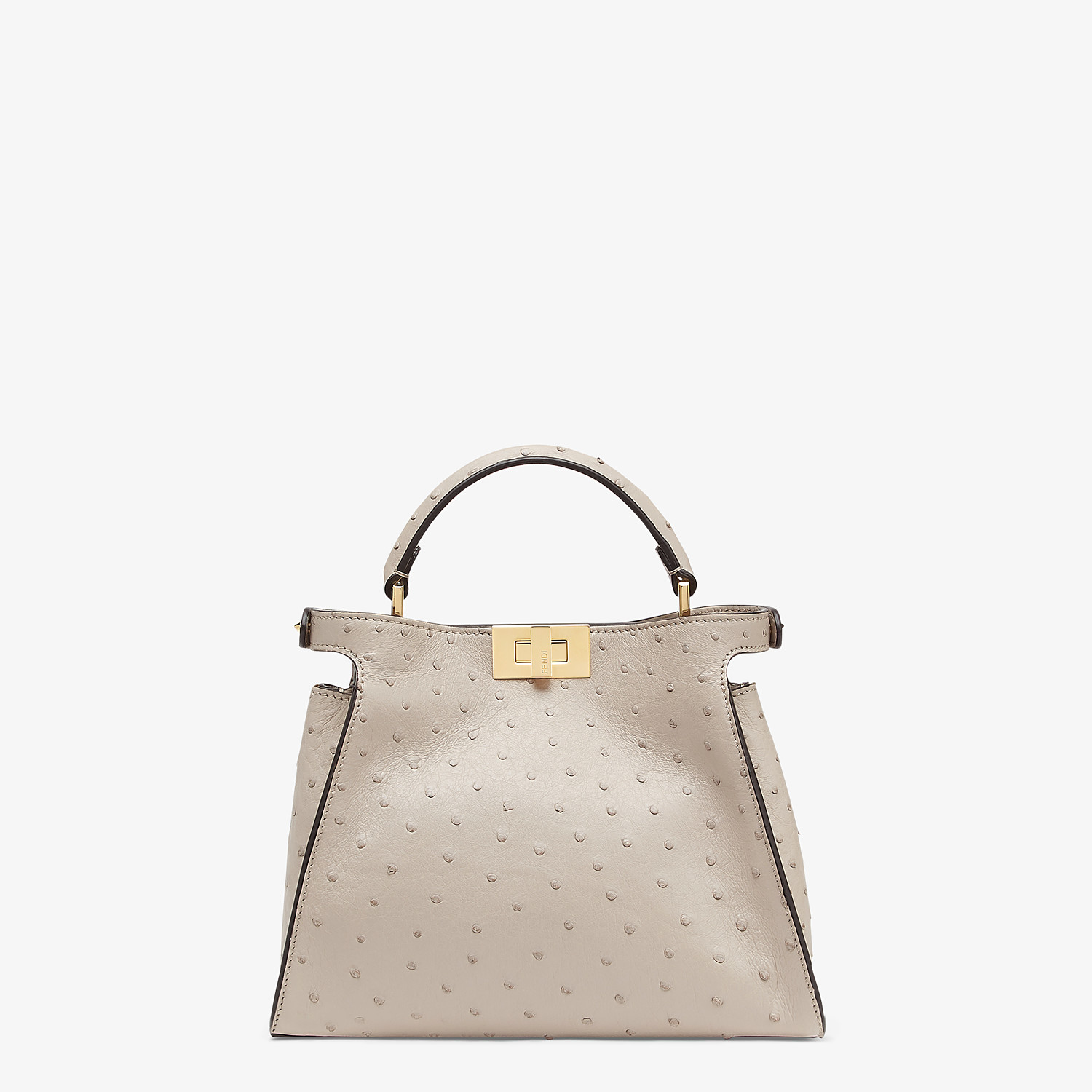 FENDI PEEKABOO ICONIC ESSENTIALLY - Gray ostrich leather bag - view 4 detail
