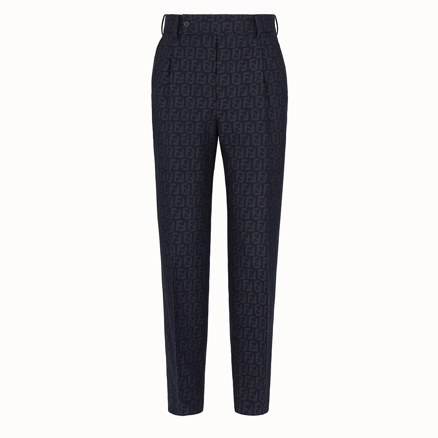FENDI TROUSERS - Blue fabric trousers - view 1 detail