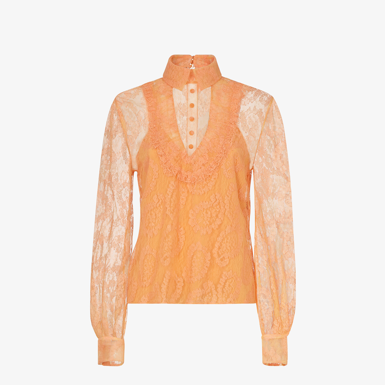 FENDI SHIRT - Orange lace blouse - view 1 detail