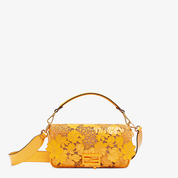 Embroidered orange patent leather bag