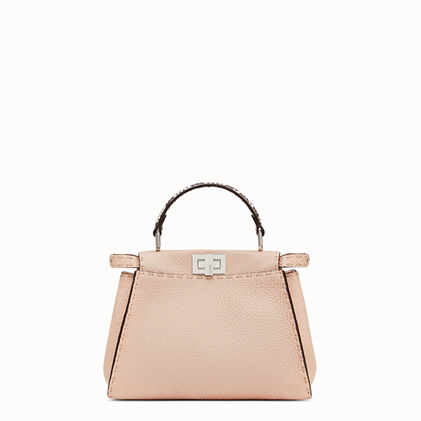 FENDI PEEKABOO MINI - Exotic pink leather bag - view 1 small thumbnail