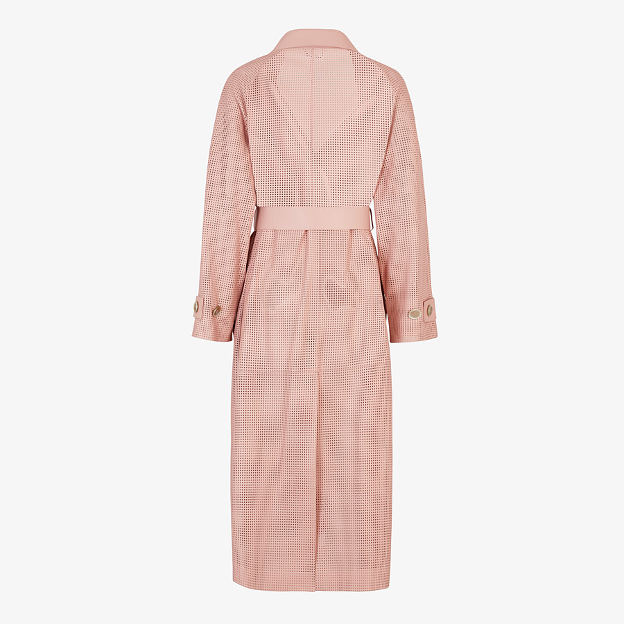 FENDI OVERCOAT - Pink leather trench coat - view 2 detail