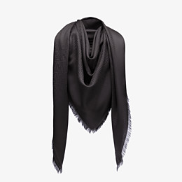 FENDI FF SHAWL - Black silk and jacquard wool shawl - view 2 thumbnail