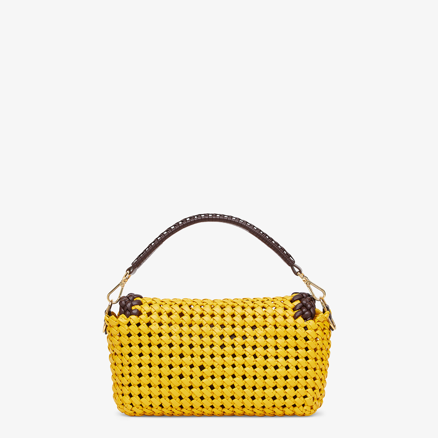FENDI BAGUETTE - Yellow leather interlace bag - view 3 detail