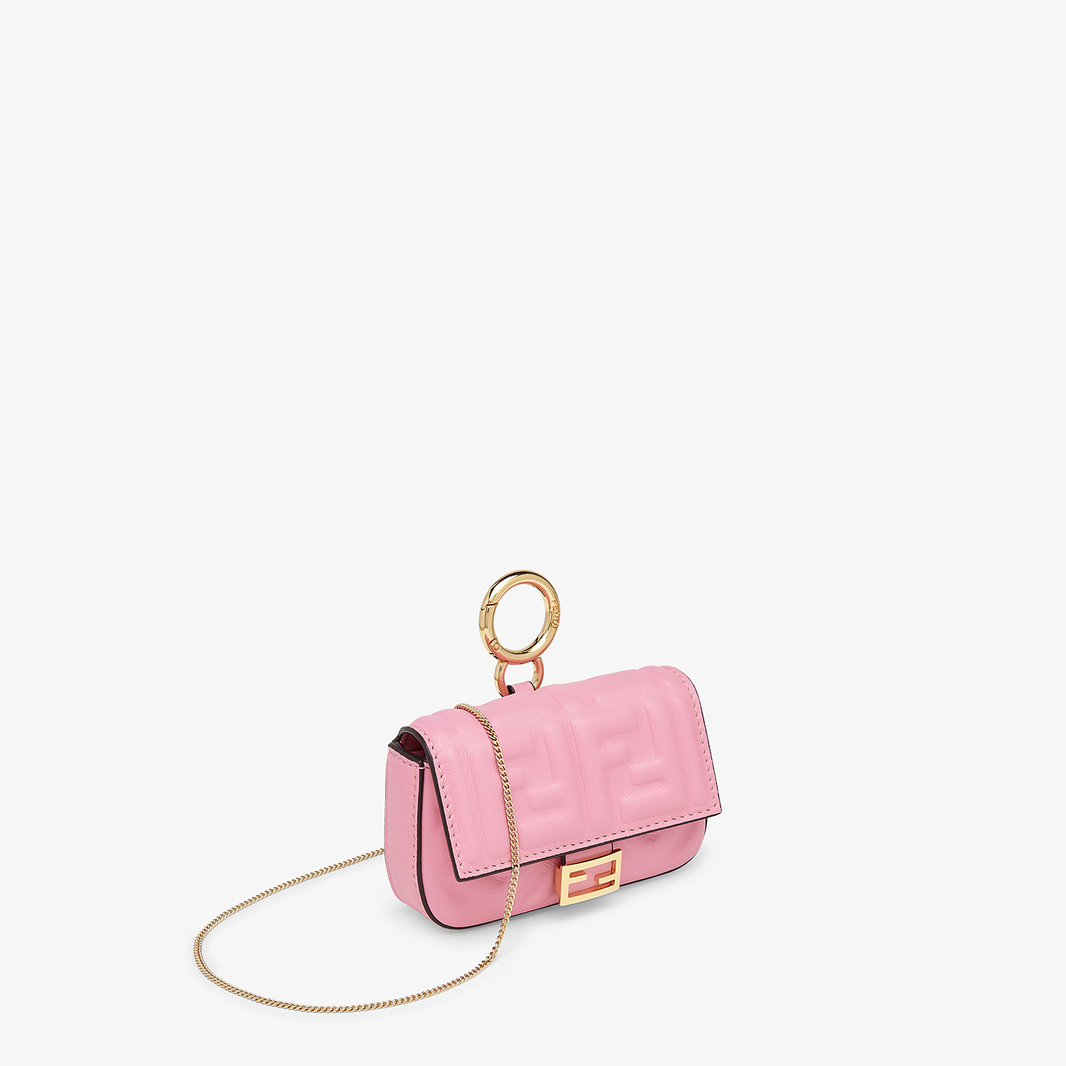 FENDI NANO BAGUETTE CHARM - Charm in pink nappa leather - view 3 detail