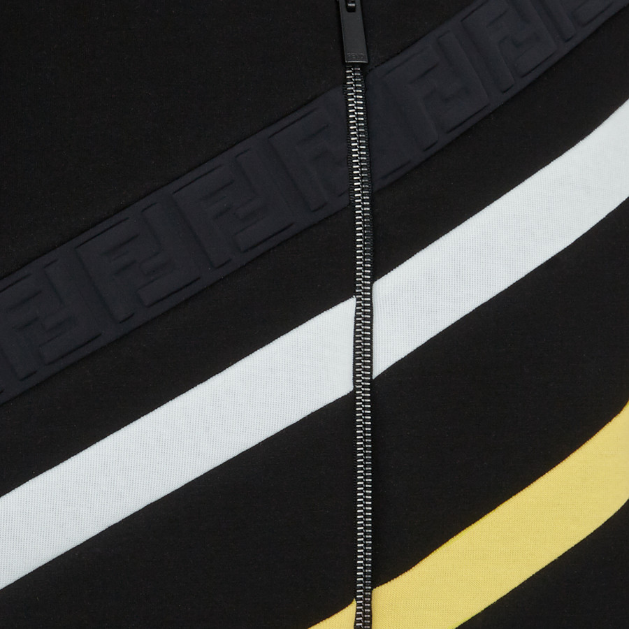 FENDI 飛行員外套 - 黑色棉質針織布外套 - view 3 detail