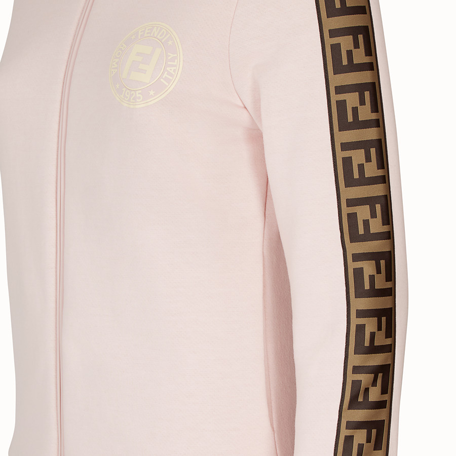 FENDI SWEATSHIRT WITH ZIP - Pink cotton jersey sweatshirt - view 3 detail