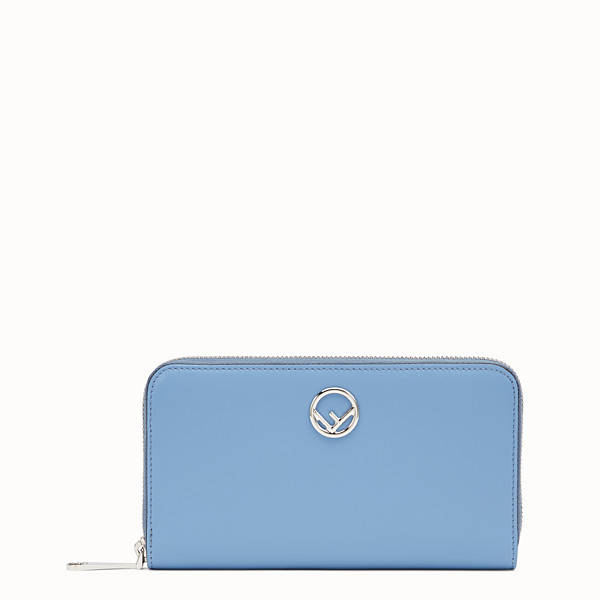 FENDI ZIP-AROUND - Light blue leather wallet - view 1 small thumbnail