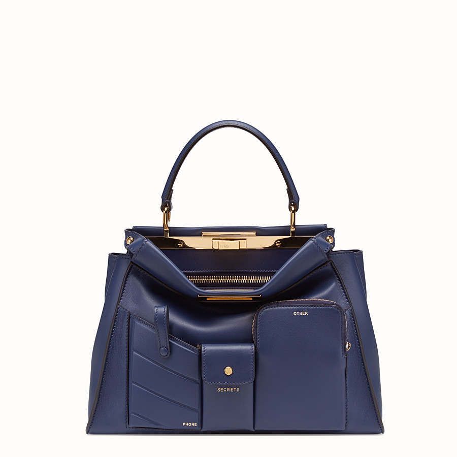 FENDI PEEKABOO ICONIC MEDIUM - Blue leather bag - view 1 detail
