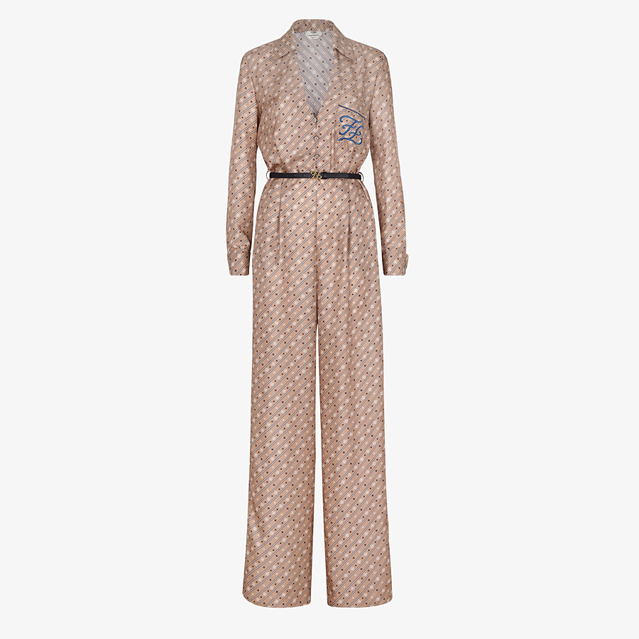 FENDI JUMPSUIT - Jumpsuit aus Seide in Beige - view 1 detail