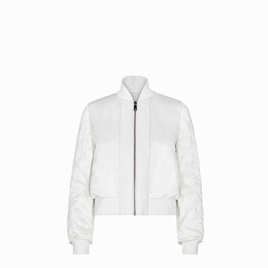 FENDI BOMBER - White fabric and fur bomber jacket - view 4 detail