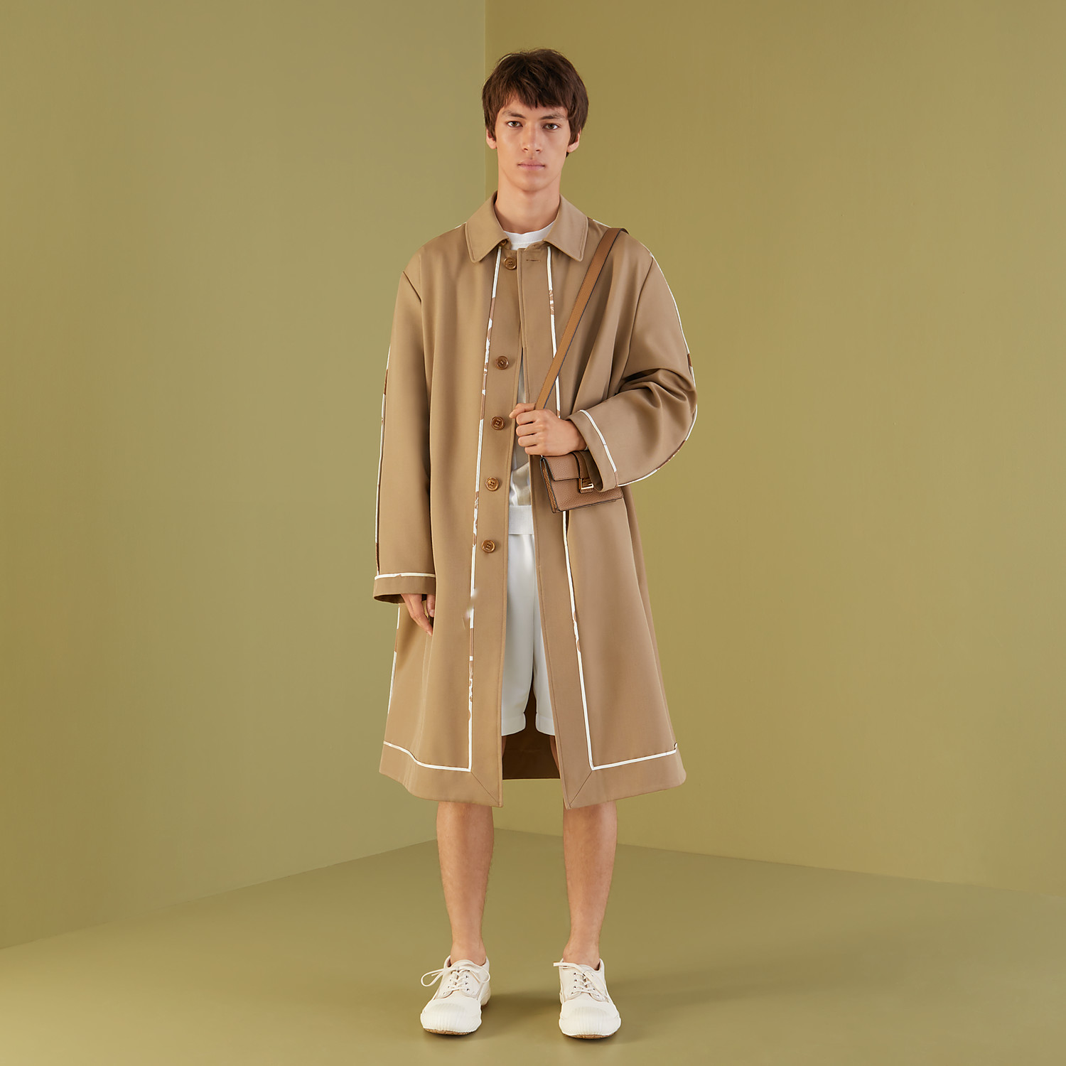 FENDI TRENCH COAT - Brown twill overcoat - view 4 detail