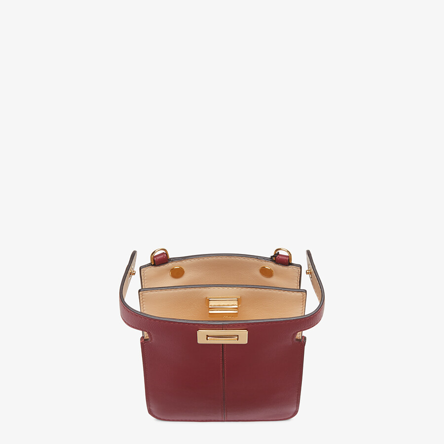 FENDI PEEK-A-PHONE - Burgundy leather pouch - view 3 detail