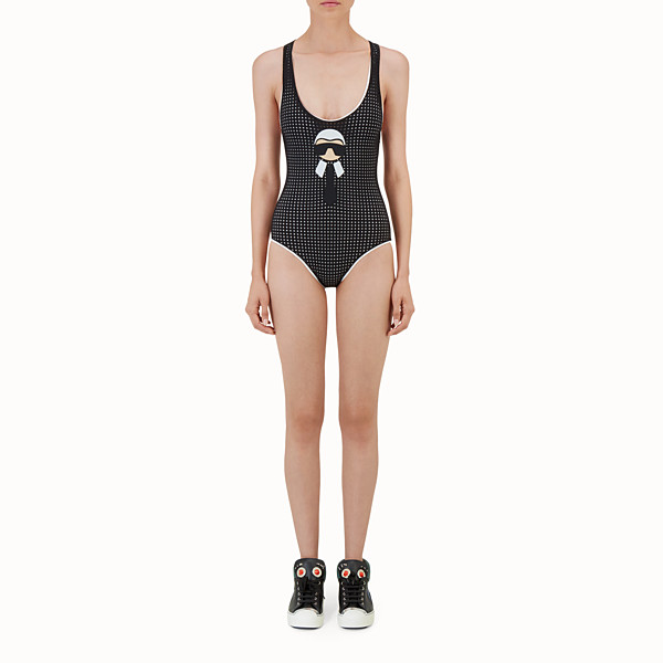 FENDI ONE-PIECE SWIMSUIT - Black and white one-piece swimsuit - view 1 small thumbnail