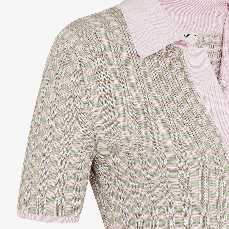 FENDI JUMPER - Vichy viscose polo shirt - view 3 detail