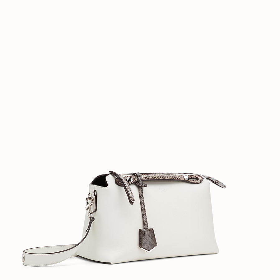 FENDI BY THE WAY REGULAR - White leather Boston bag with exotic details - view 2 detail
