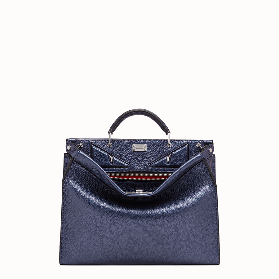 FENDI PEEKABOO ICONIC FIT - Blue leather bag - view 1 detail