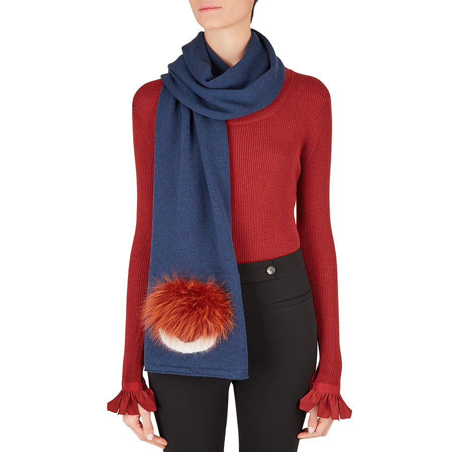 FENDI SCARF - in blue wool and fur - view 3 detail