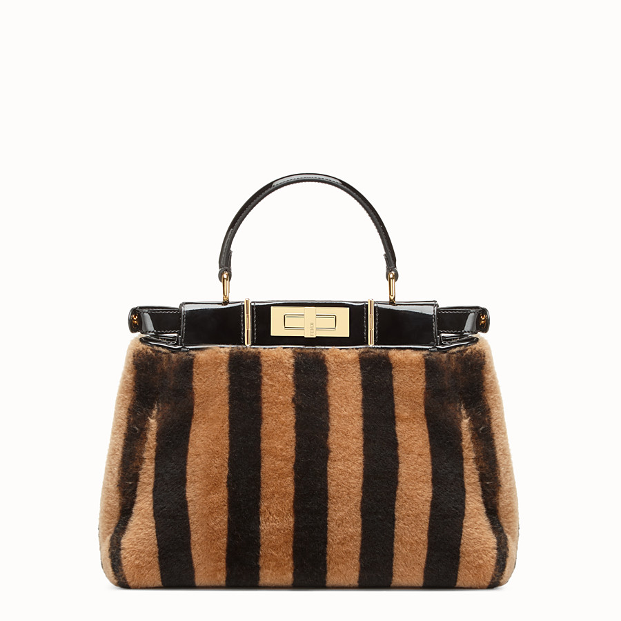 FENDI PEEKABOO ICONIC MEDIUM - Multicolour sheepskin and vinyl bag - view 5 detail