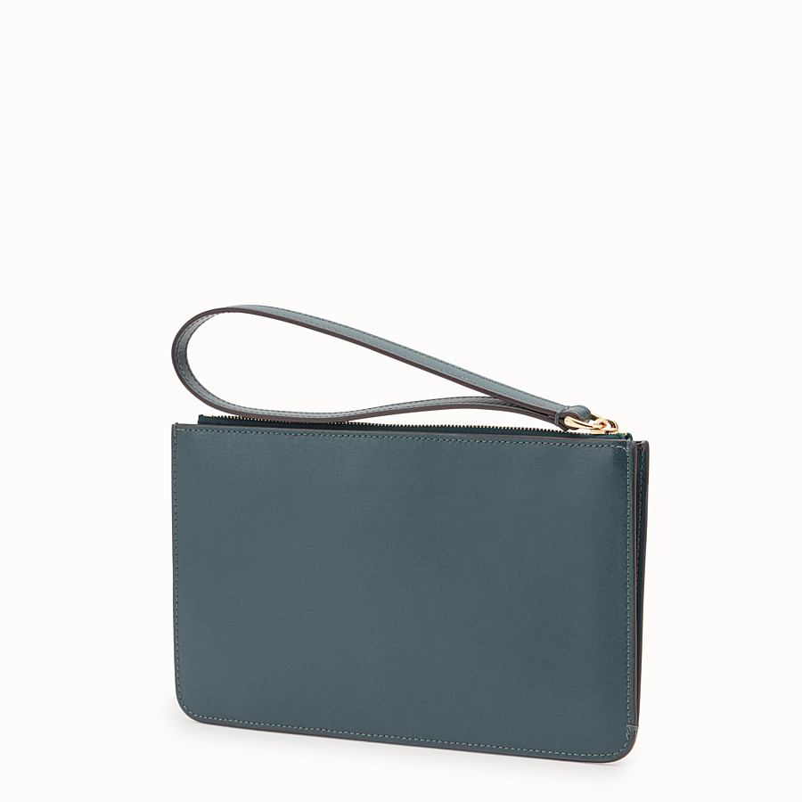 FENDI FLAT CLUTCH - Green leather pochette - view 2 detail