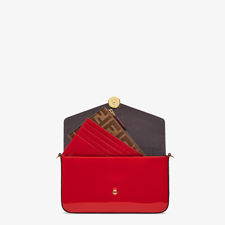 FENDI WALLET ON CHAIN WITH POUCHES - Mini bag in red patent leather - view 6 detail