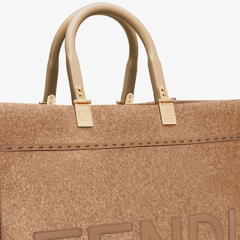 FENDI FENDI SUNSHINE MEDIUM - Brown flannel shopper bag - view 5 detail