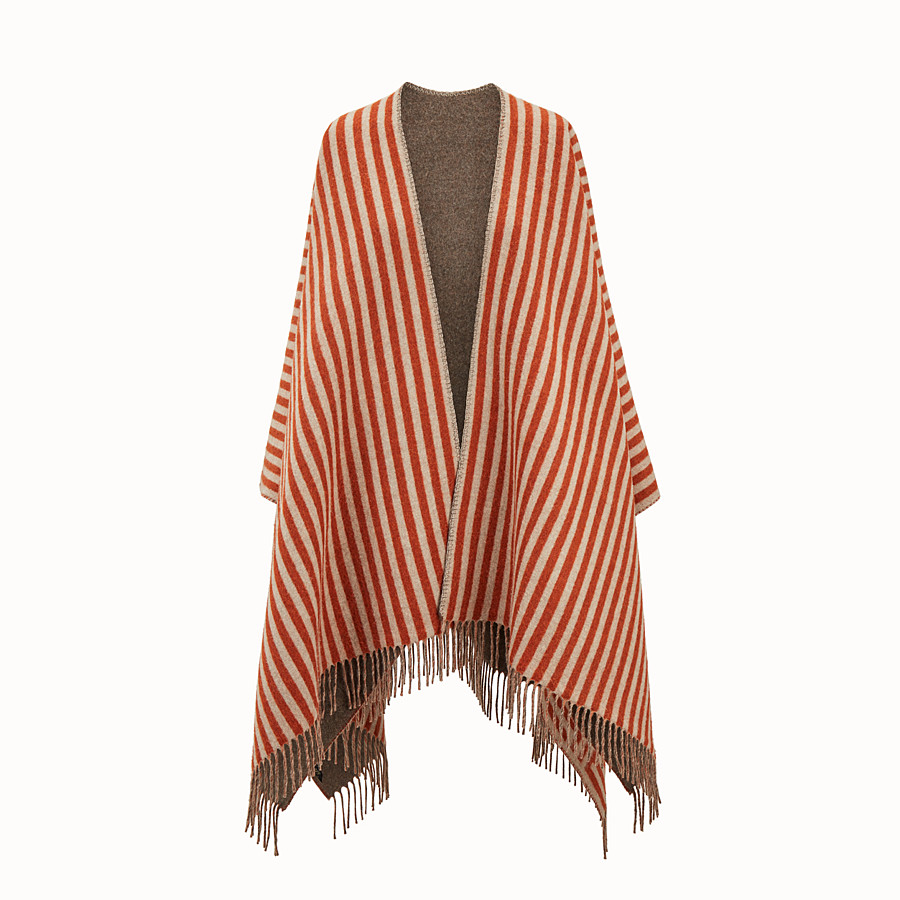 FENDI FENDI STRIPY PONCHO - Red wool and cashmere poncho - view 1 detail
