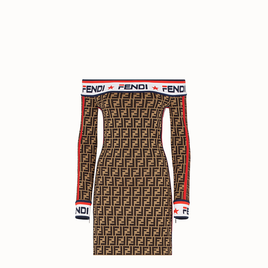 FENDI SHORT DRESS - Multicolour cotton jersey dress - view 1 detail