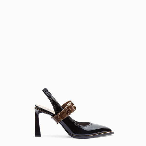 FENDI SLINGBACK - Slingbacks in glossy black neoprene - view 1 small thumbnail