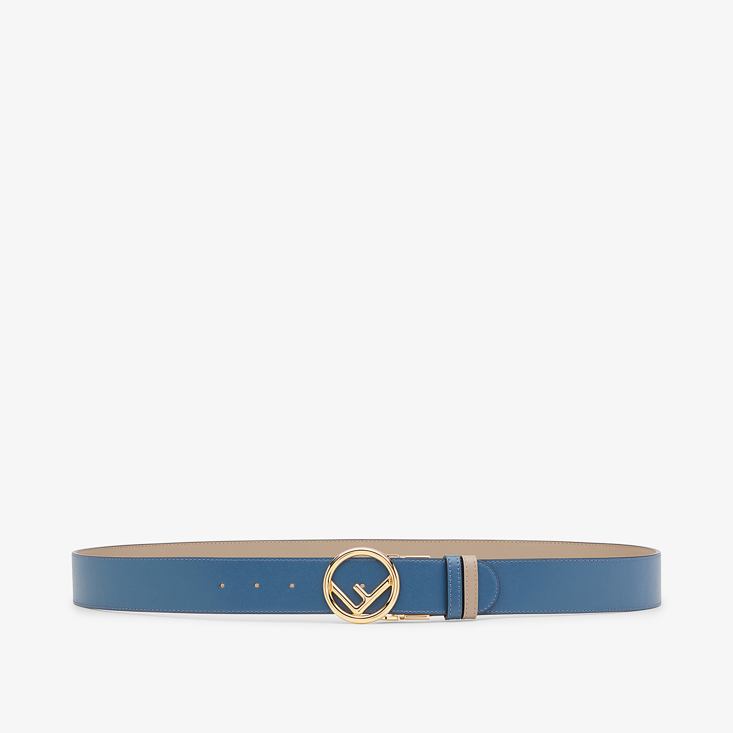 FENDI BELT - Beige and blue leather belt - view 1 detail