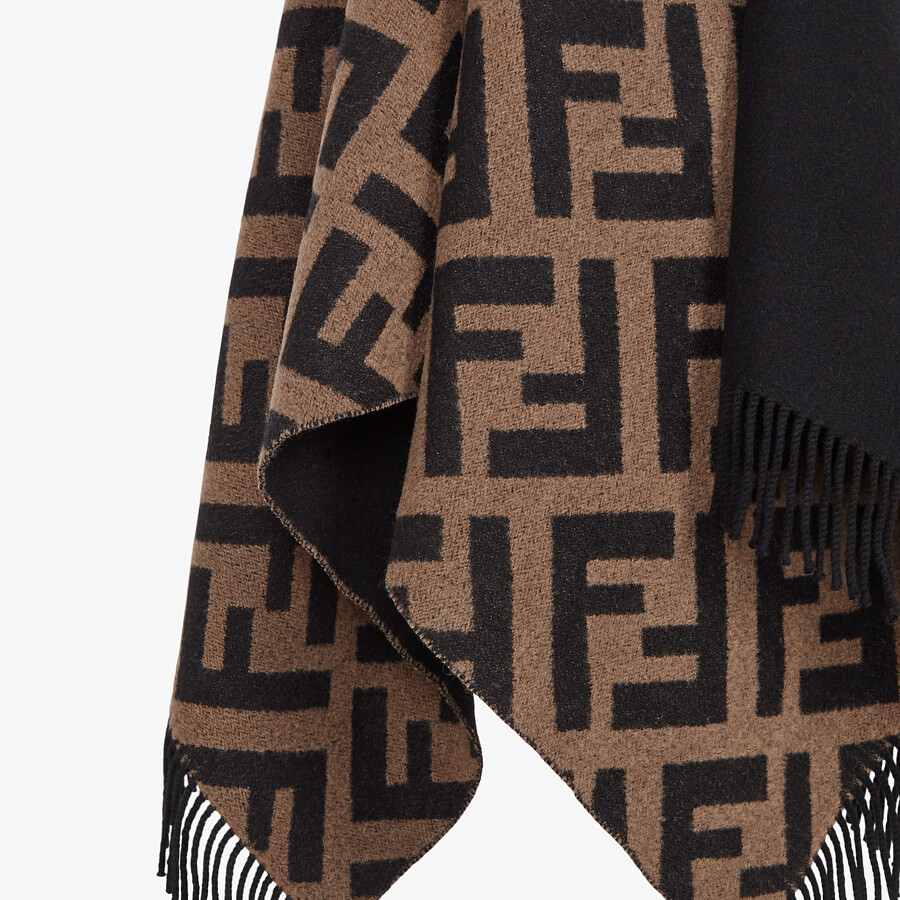FENDI PONCHO - Multicolor wool and cashmere poncho - view 3 detail