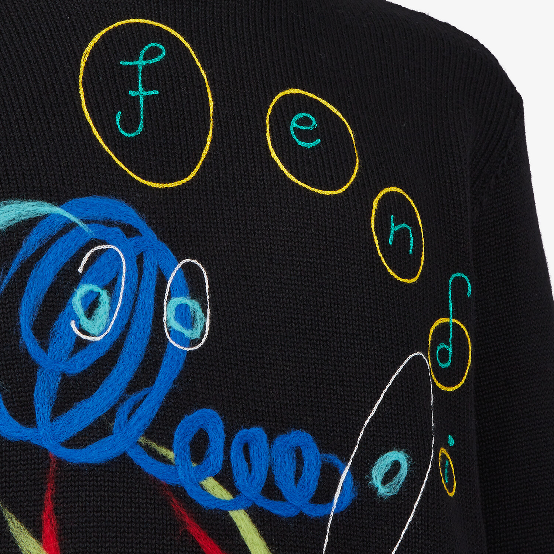 FENDI PULLOVER - Black wool jumper - view 3 detail