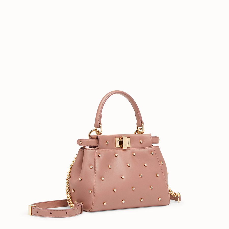 FENDI PEEKABOO XS - Pink leather mini-bag - view 2 detail