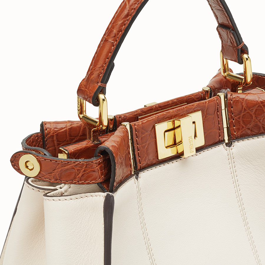 FENDI PEEKABOO ICONIC MINI - White leather bag with exotic details - view 6 detail