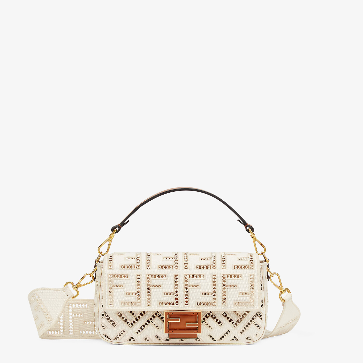 FENDI BAGUETTE - White canvas bag with embroidery - view 1 detail