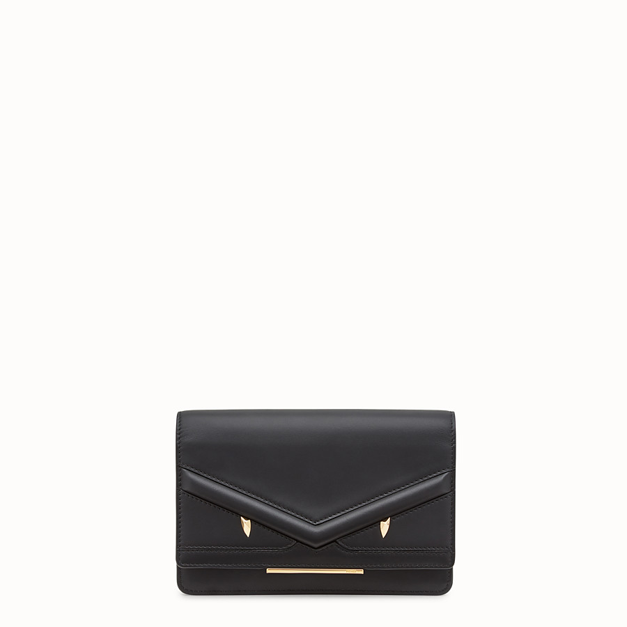 FENDI WALLET ON CHAIN - Black leather mini-bag - view 1 detail