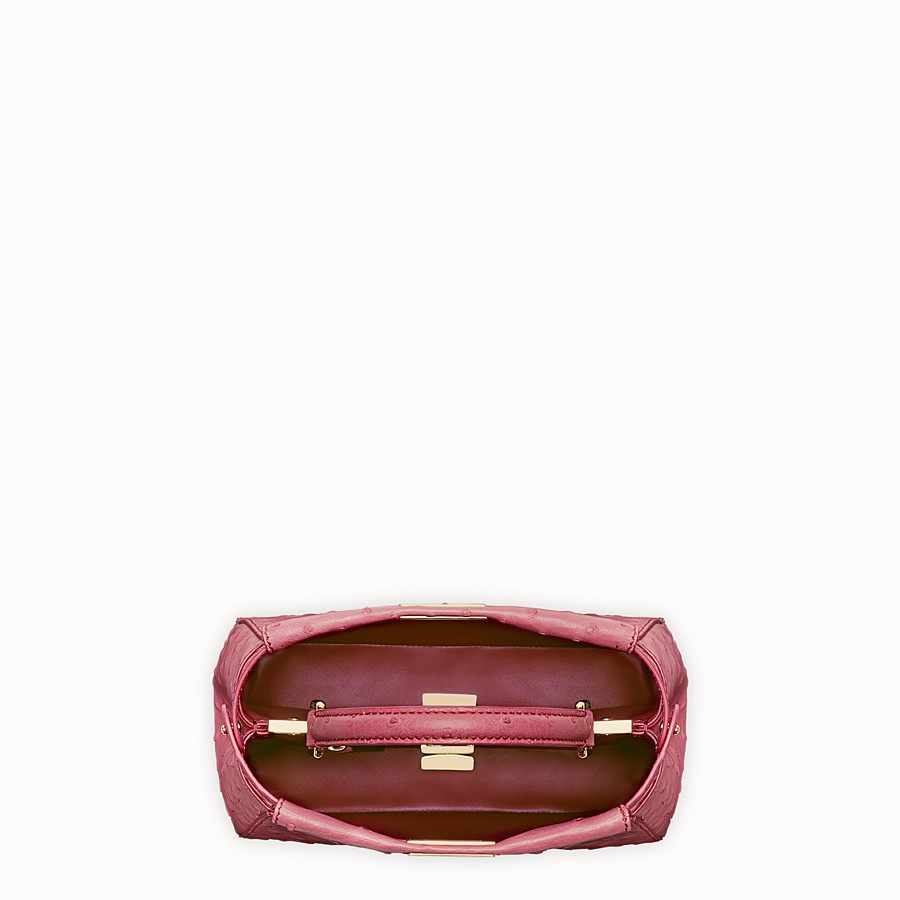 FENDI PEEKABOO MINI - Red ostrich leather handbag. - view 4 detail