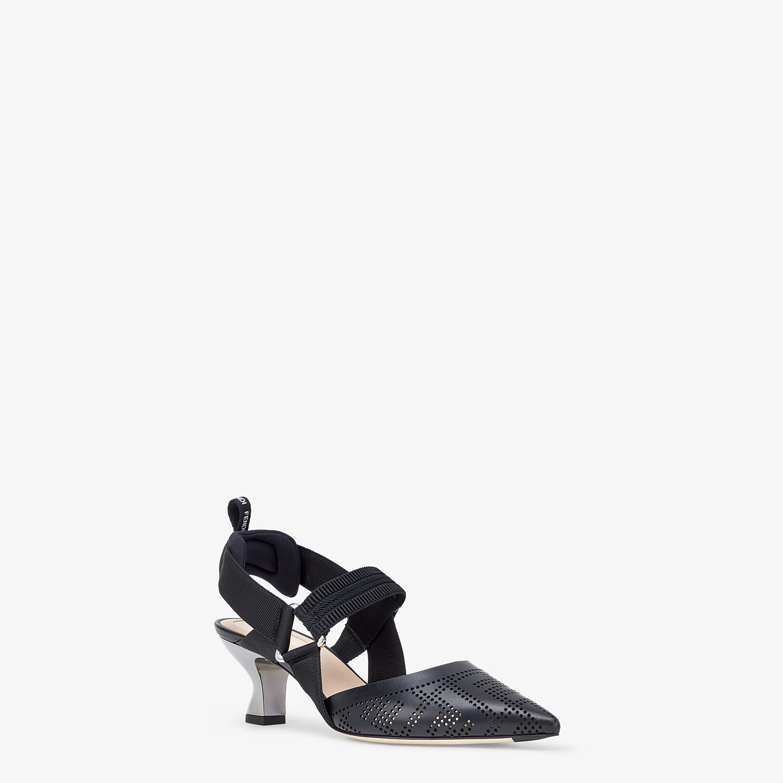 FENDI SLINGBACKS - Black leather, medium heel slingbacks - view 2 detail