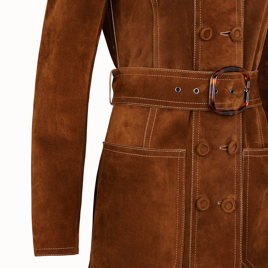 FENDI OVERCOAT - Brown suede trench coat - view 3 detail