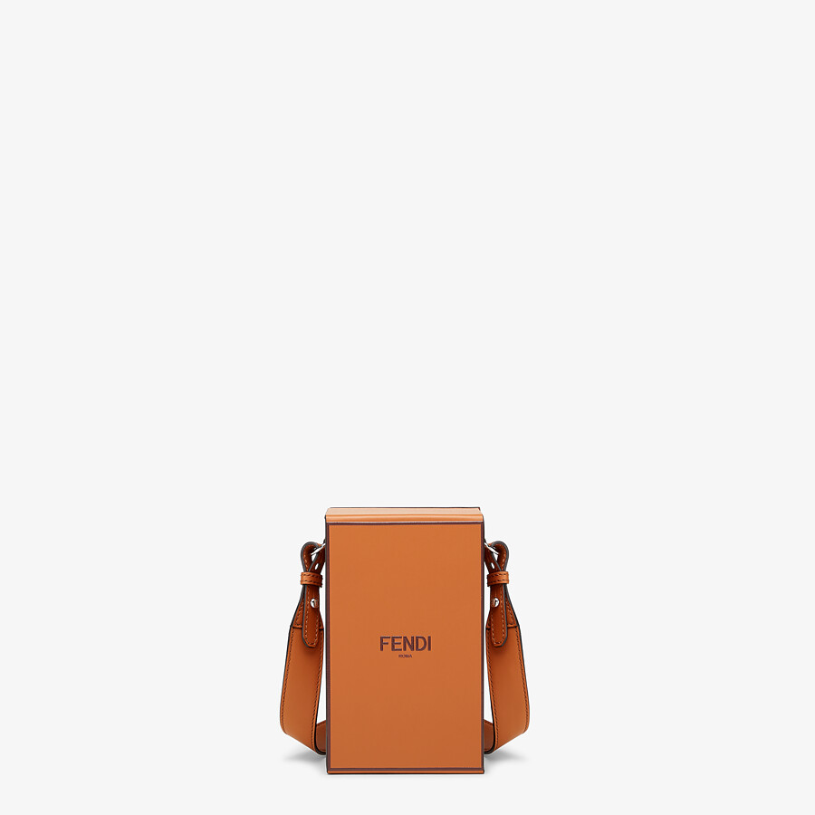 FENDI VERTICAL BOX - Brown leather bag - view 1 detail